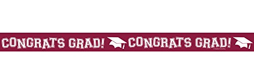 Creative Converting Congrats Grad Printed Crepe Paper Streamer Roll, 30', Burgundy