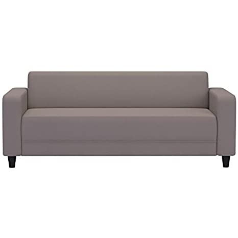 FIRR Canapé droit fixe 3 places - Simili Taupe - Contemporain - L 180 x P 79 cm