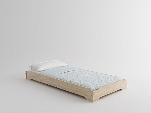 Lit empilable en bois + matelas (90 x 190 cm, Bois massif poli)