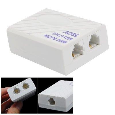 Uxcell Rectangle Phone ADSL Modem RJ11 Splitter Filter for Landline Telephone, White