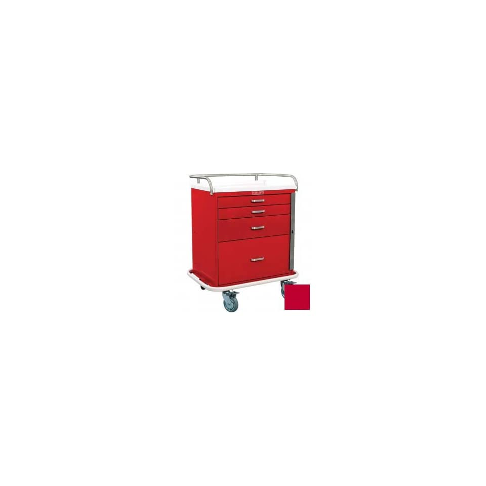 Classic Short Four Drawer Emergency Crash Cart Standard Package, Red