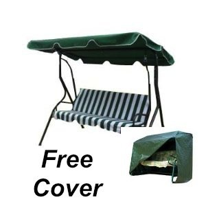 3 Seater Swing Green White Swinging Garden Hammock Outdoor Patio Furniture Includes Free Cover