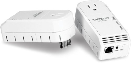 TRENDnet 200 Mbps Powerline Ethernet AV Adapter Kit with Bonus Outlet TPL-307E2K (White)