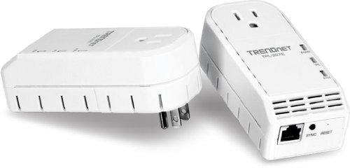 TRENDnet 200 Mbps Powerline Ethernet AV Adapter Kit with Bonus Outlet TPL-307E2K (White)