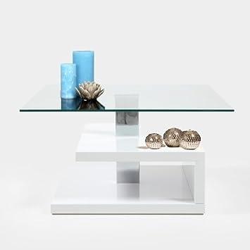 Mesa de centro/mesa esquinera SUSY, tablero de cristal, estructura de madera lacada en blanco brillante
