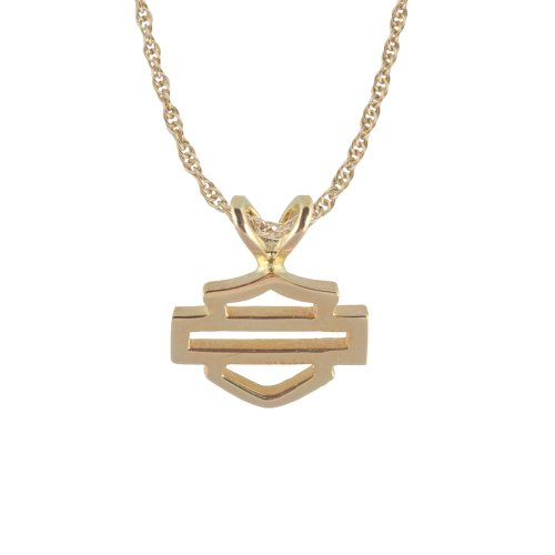 Harley-Davidson® Stamper® Women's 10K Open Bar & Shield Necklace Pendant with 10K Gold Chain. N7117