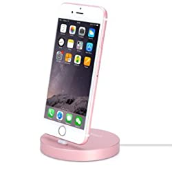 iPhone Lightning Dock, Stouch Aluminum iPhone Lightning Charging Dock for Smart LED Light and Automatic Power-Off(Circular Rose Gold)