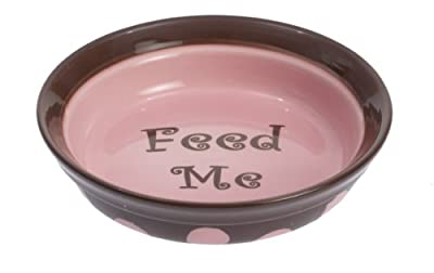 "Petrageous Designs Sassy 6"" Shallow Pet Bowl, Feed Me"