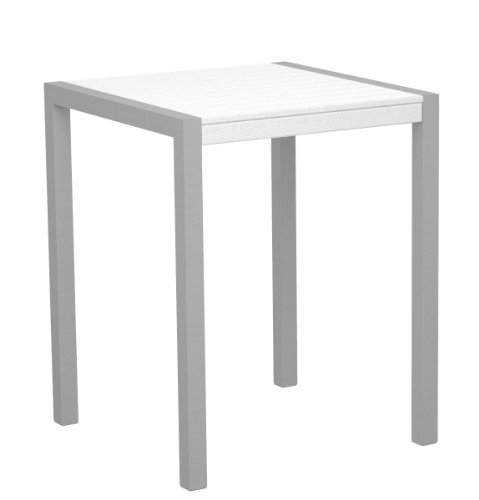 Poly-Wood 8001-11WH Euro Dek 30-Inch Counter Height Table, Silver Aluminum Frame, White
