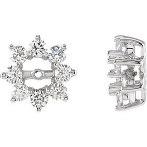 Genuine IceCarats Designer Jewelry Gift 14K White Gold Diamond Earrings Jacket. Pair 1 1/5 Cttw Diamond Earrings Jacket In 14K White Gold