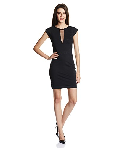 Miss Chase Women's Solid Mini Bodycon Dress (MCAW14D02-57-62_Black_X-Small)