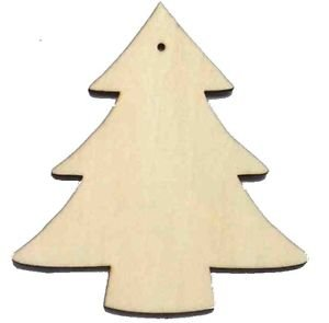 10 X Wooden Christmas Tree Shapes Plain Wood Craft Tags