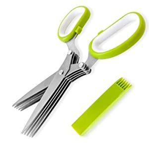 Green Chef Herb Scissors Multipurpose Shears with 5 Stainless Steel Blades and Cover