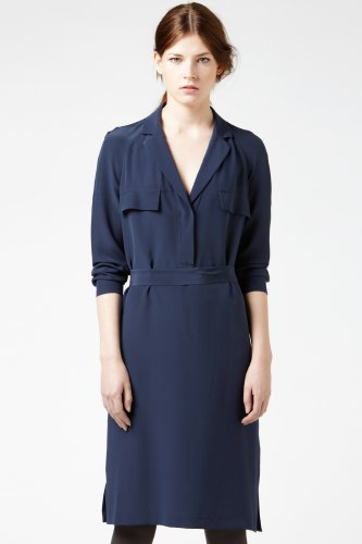 Long Sleeve Crepe Silk Woven Shirt Dress
