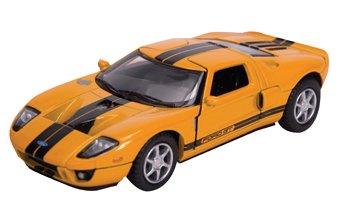 Die Cast 2006 Ford GT, Colors white with blue stripes, yellow with black stripes,red with silver stripes, & black with silver stripes.