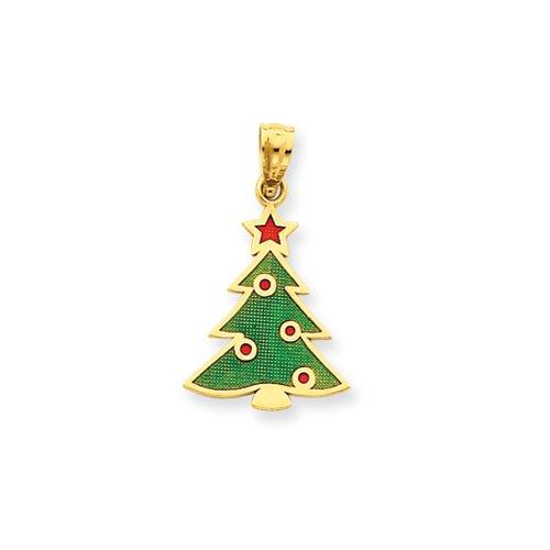 14 Karat Gold, Enameled Christmas Tree Pendant
