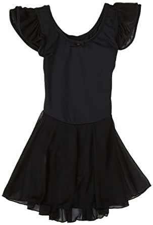 Capezio Little Girls' Flutter-Sleeve Dress Leotard,Black,T (2-4)