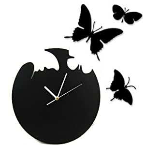 kilofly Fly Away Butterfly DIY Wall Clock, Black: Amazon.co.uk ...