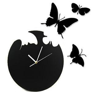 kilofly Fly Away Butterfly DIY Wall Clock, Black: Amazon.co.uk ...