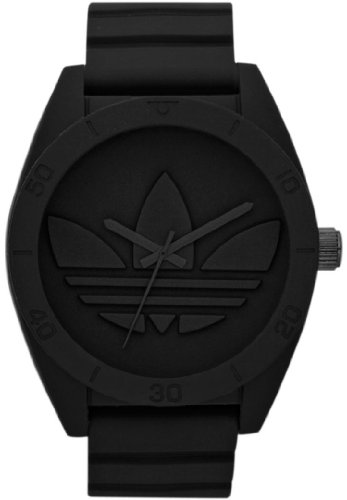 Adidas Men's Santiago ADH2710 Black Silicone Quartz Watch with Black Dial