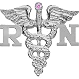 RN Nursing Pin - Registered Nurse in Silver with Pink Sapphire