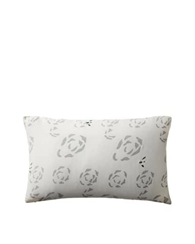Shades of India Gale Lumbar Pillow Cover, Natural/Charcoal