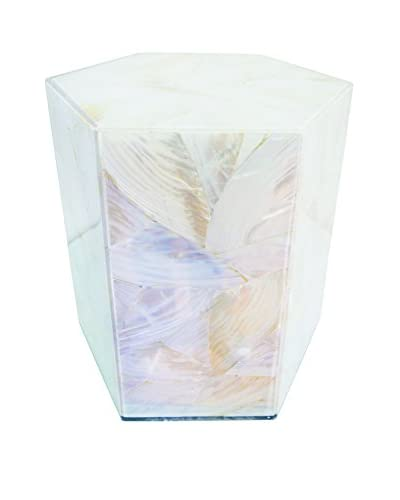 Couture Sanibel Hex Accent Stool, Natural Mother of Pearl