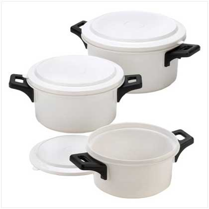 White Microwave Cooking Pots Snap On Lids Kitchen Set