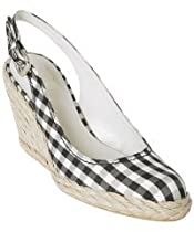 Stuart Weitzman black gingham satin 'Gosling' wedge slingbacks