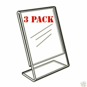 Advantage (3 Pack) 8.5 X 11 Slant Back Clear Acrylic Sign Holder Ad Frame by Advantage