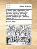 Browne Willis A survey of the cathedrals of York, Durham, Carlisle, Chester, Man, Litchfield, Hereford, Worcester, Gloucester, Bristol, Lincoln, Ely, Oxford, Peterborough, Canterbury Volume 3 of 3