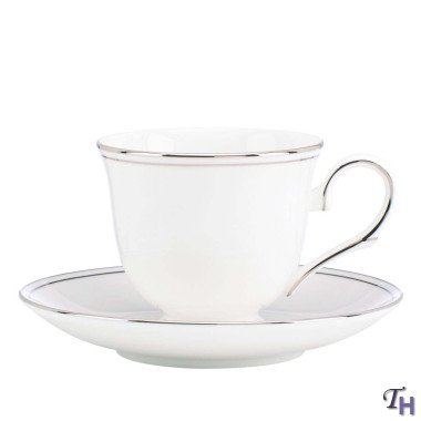 Lenox Federal Platinum Tea Cup And Saucer, White