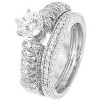 Sterling Silver Wedding Ring set with Round Cubic Zirconia in Six Prong Setting