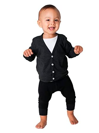 American Apparel Infant Tri-Blend Rib Cardigan -Tri-Black (6-12 months)