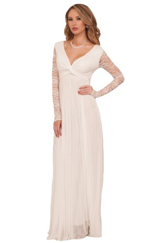 Long Sleeve Lace Full Length Maxi Ball Gown Accordion Pleated Dress