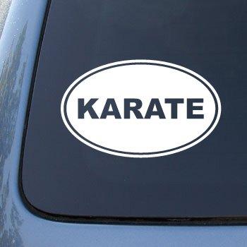 KARATE EURO OVAL - Martial Arts - Vinyl Car Decal Sticker #1723 | Vinyl Color: White