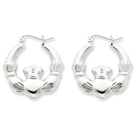 Sterling Silver Rhodium-plated Polished Claddagh Hoop Earrings