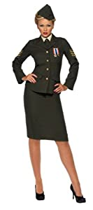 Smiffy's Women's Wartime Officer Costume, Green, Small