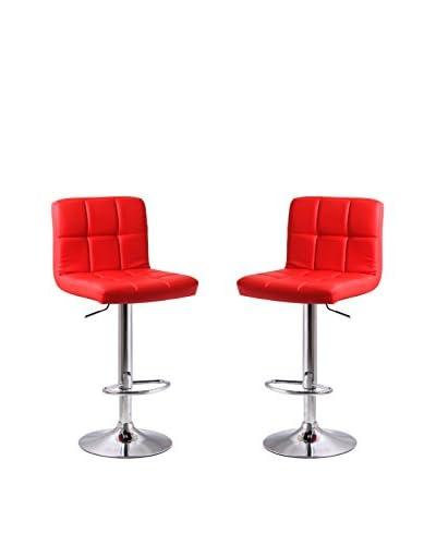 Manhattan Comfort Paladino Set of 2 Barstools, Red