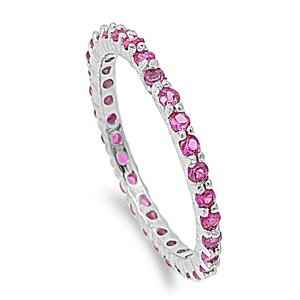 2mm Sterling Silver WHITE GOLD TONE Stackable RUBY GEM CZ Eternity Engagement Ring 4-10 (6)