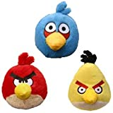 Angry Birds Plush 4-inch Red, Blue Yellow Birds Set of 3