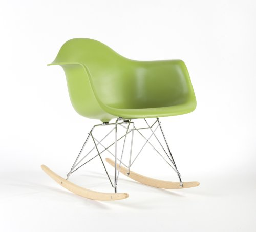 Charles Eames Style RAR Plastic Rocking Chair - Green