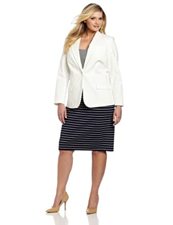 Vince Camuto Women's Plus-Size One Button Blazer, New Ivory, 14W at
