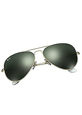Ray-Ban Aviator Non-Polarized Sunglasses RB3025, Gold Frame/Green Lens