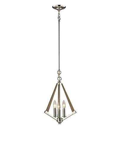 Artistic Lighting Madera Collection 3-Light Pendant, Polished Nickel