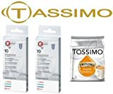 Bosch Original Tassimo Cleaning Tablets (2 Boxes of 10 Tablets = 20 Tablets) (Bosch Pt No 310575X2+EB) c/w A FREE Packet of English Breakfast T-Discs & Cadbury Chocolate Bar