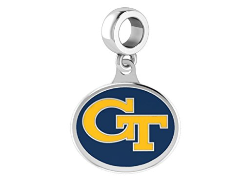 Georgia Tech Yellow Jackets Logo Dangle Charm Fits All European Style Charm Bracelets.