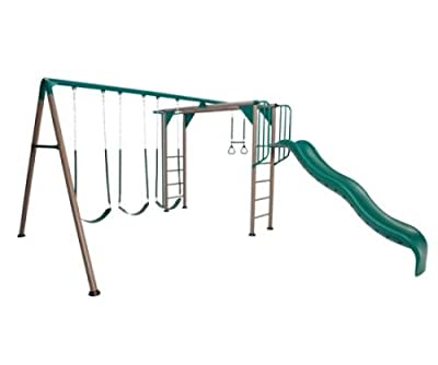Lifetime Monkey bar Playset 9 ft Wavy Slide Adventure Swing Set