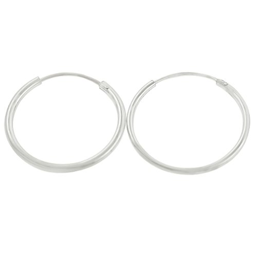 Sterling Silver Endless 1.25mm x 18mm Gauge Plain Hoop Earrings