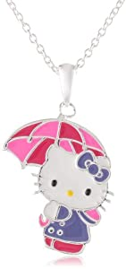 Girls Hello Kitty Silver Plated Brass Enamel Umbrella Pendant Enhancer